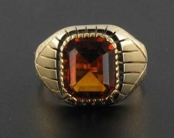 Signet Ring old quartz hematoide yellow gold 18K Vintage