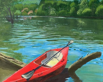 Kayak in the spring water-Canvas Acrylic Painting Original