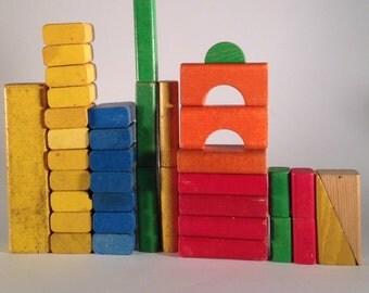 Vintage wooden blocks set playskool