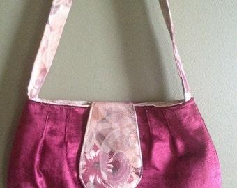 Burgundy velvet vintage inspired handbag