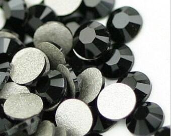 144pcs Flat Back Crystal Rhinestones Jet Black small packet loose flatback rhinestones crystals beads glass 2mm 3mm 4mm 5mm 6mm