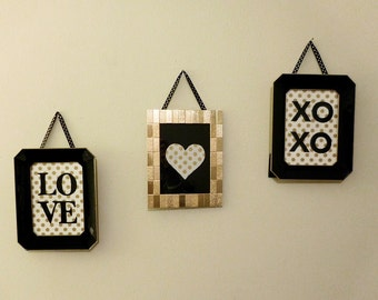 Black and Gold Love Set of 3