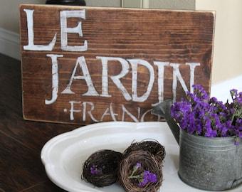 """Le Jardin Distressed Wood Sign: Indoor French Garden """"Le Jardin - France"""" Wood Sign"""