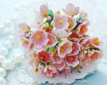 Vintage Forget Me Not Millinery Flowers-Baby Pink/Shabby Chic Flowers/VF0010/Great for Wedding Decor,Card,Altered Box,Hat,Doll