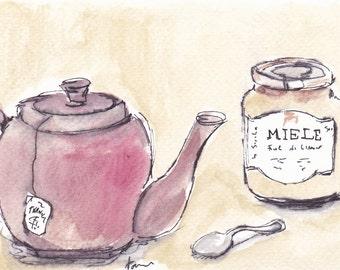 "Original Watercolor Sketch ""Thea and honey"""