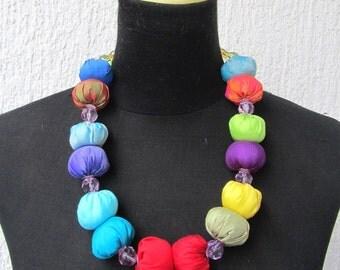 multicolor silk fabric necklace with vintage glass beads, handmade jewelery,pom-pom silk fabric necklace, silk fabric necklace