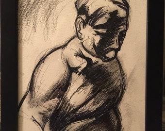 """Original charcoal drawing titled """"Dispair"""""""