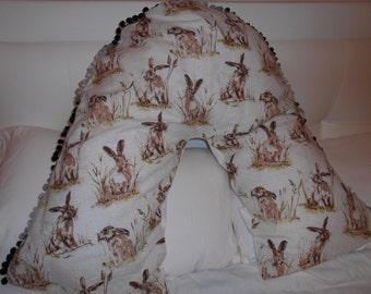 Cushion/Pillow Cover - V shaped in Rabbit print linen fabric