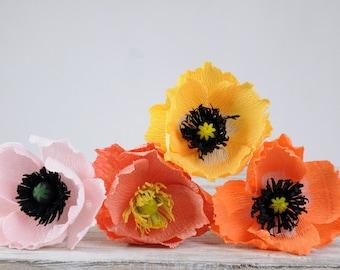Paper poppies color mix bouquet