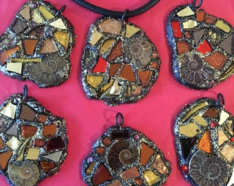 Ammonite mosaic necklace