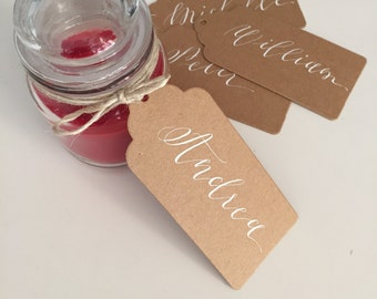 10 Custom Calligraphy Place Setting Cards/Favour Name Tags