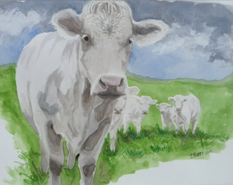 Cows in thunderstorms, watercolour