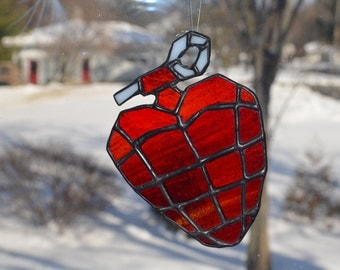 Stained Glass Grenade Heart American Idiot Green Day Album Inspired Art, Unique Valentine's Day Gift, Birthday