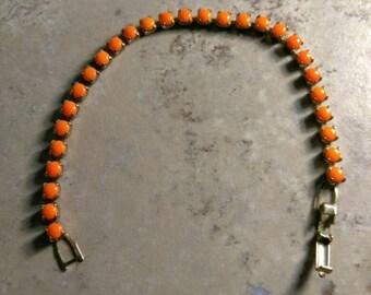 Vintage Orange Colored Glass Beaded Gold Tone Bracelet