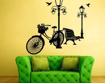 rvz1033 Wall Vinyl Sticker Bedroom Decal Park Bicycle Flowers