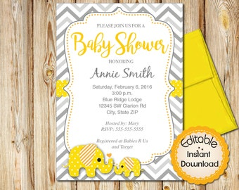 "Baby Shower Invitation, Neutral, INSTANT download, EDITABLE in Adobe Reader, DIY, Printable,Yellow Gray, Elephant, 5""x7"""