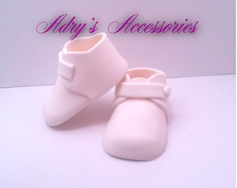 Gum Paste White Baby Shoes Cake Topper