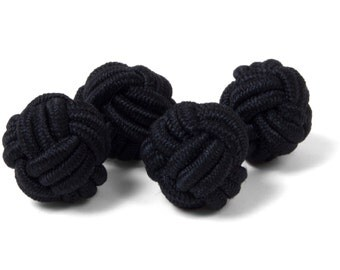 Black Silk Knot Bound Cufflinks