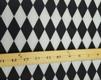 White & Black Harlequin Print Fabric - Diamond Print Fabric Four way Stretch Spandex  Fabric By the Yard