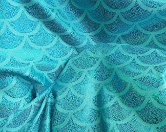 Jumbo Mermaid Hologram Nylon Spandex Jumbo Fish Scales Fabric By Yard