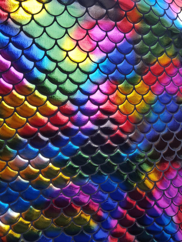 New rainbow multicolor spandex mermaid fabric sold by yard for Rainbow fish fabric