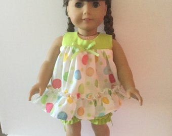 Handmade Baby doll pajamas for American Girl doll.