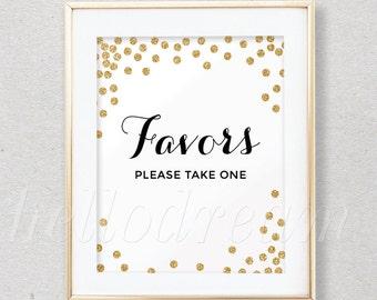 Confetti Gold Favor Table Sign, Bridal Shower Sign, Wedding Favor Sign,  - SKUHDG14