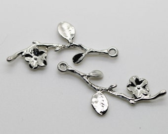2 Antique Silver Branch with Flower Pendant 41x17 mm