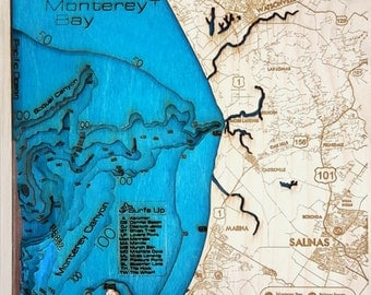 Mini Monterey Bay Area 3-D Wood Map.