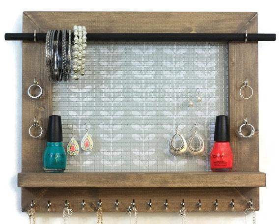 Jewelry organizer bathroom decor leafy pattern jewelry for Bathroom jewelry holder