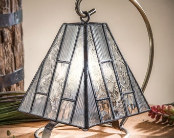 Stained Glass Mini Lamp Mission Style In Clear Textured Glass Small Tiffany Accent Lamp Night Light