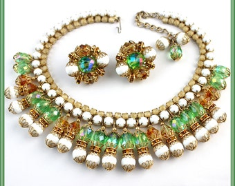 Make an OFFER - Outstanding HOBE Collar Necklace and Earrings - Bead & Rhinestone Dangle - Signed