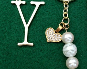 White Lace Pearl Key Chain, Purse Charm