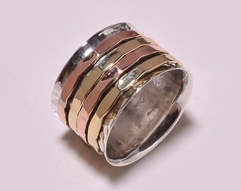 Three Tone Spinning ring, Meditation ring, statement ring, Spinner Ring US-6,7,8,9,10,12 Jewelry, free express shipping