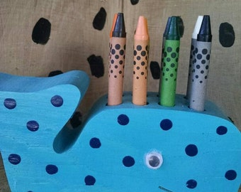 Whale crayon holder