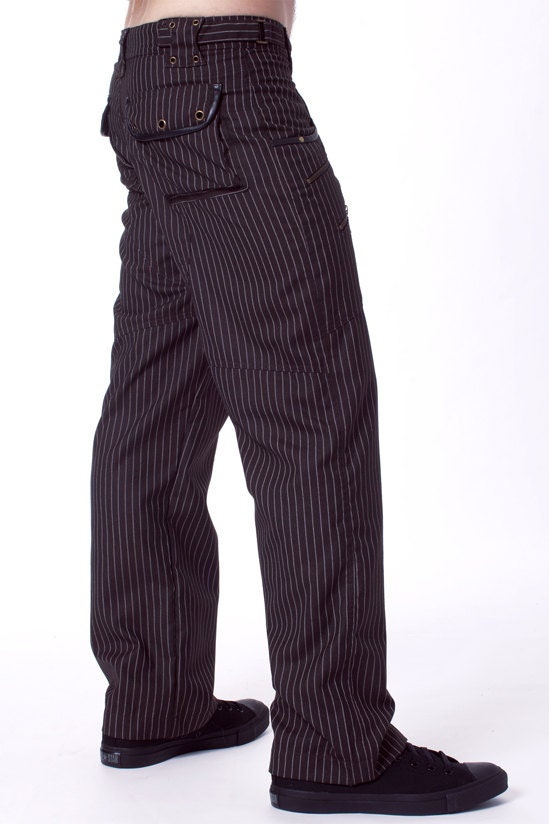 Men's Pinstripe Pants Not just for the office, a pair of pinstripe pants will rework your wardrobe with a polished twist. Accented with stripes throughout, these pants are ideal for adding a .