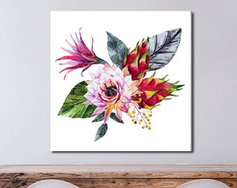 Tropical Flower Composition, Tropical Watercolor Gallery-Wrapped Canvas