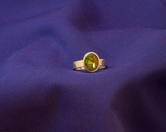 Sterling Silver and Ammolite Ring