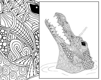 giraffe coloring page animal coloring page adult coloring - Crocodile Coloring Pages Print