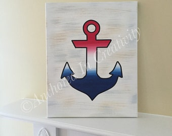 Anchor Canvas, Nautical Picture, Patriotic Anchor, Red White and Blue, Painted Canvas