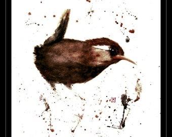 Sale/clearance 50% off - watercolor - Wren - Wren - 30x40cm - Bird - Bird