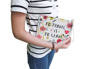 To travel is to leave - Floral Pattern Leather Pouch