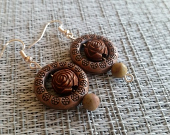 Copper Rose Earrings