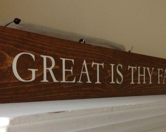 Great is Thy Faithfulness Wood Sign, Religious wood sign, Religious home decor, Above door sign