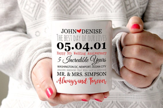 5th Wedding Anniversary Traditional Gifts: 5th Anniversary Mug 5 Years Of Marriage Gift Anniversary Mug