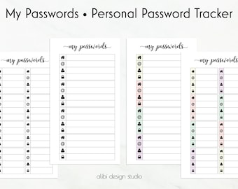 Password Tracker, Password Printable, Password Log, Password Keeper, Personal Planner Inserts, Planner Printable, Password Organizer