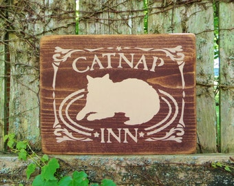 """CAT NAP INN....Animal Lovers, Country, Rustic, Decorative Wooden Sign, 12"""" X 9.25"""", Hand-Painted, Home Wall Decor"""