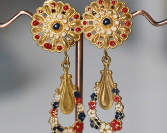 Enameled golden brass earrings (50s) Antique Victorian earrings Victorian vintage antique jewelry evening