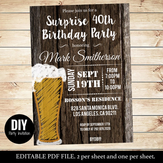DIY Instant Downloadable Men's Surprise Birthday Party