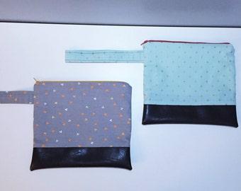Cotton faux leather pouch, clutch with handle - Makeup bag